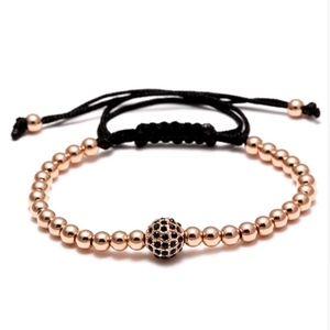 Jewelry - Rose Gold Shamballa Crystal Beaded Rope Bracelet